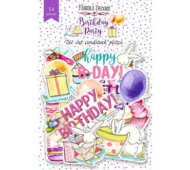 Набор высечек Birthday party, 54 шт, 250 г/м, FDCDS-04015