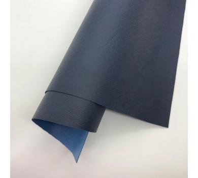 Кожзам (экокожа) на полиуретановой основе с тиснением мантуя (мятая кожа), цвет темно-синий, арт. SC420068