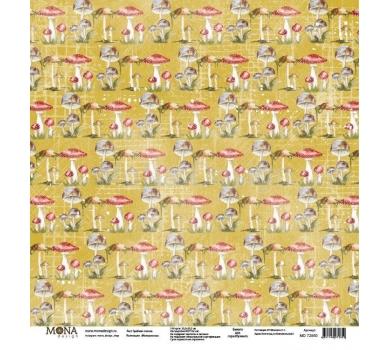 Лист бумаги для скрапбукинга Грибная поляна, коллекция Межсезонье, 72850