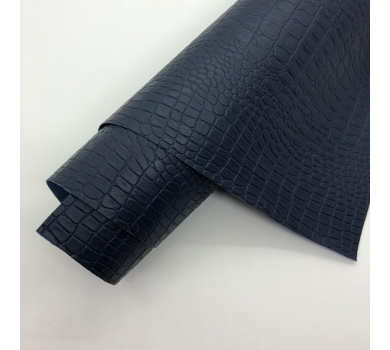 Кожзам (экокожа) на полиуретановой основе с тиснением под крокодила, цвет темно-синий, арт. SC400062