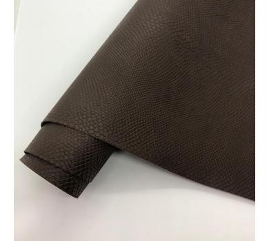 Кожзам (экокожа) на полиуретановой основе с тиснением под питона, цвет брауни, арт. SC420050