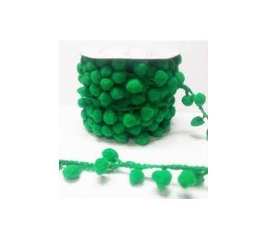 Лента с помпонами зеленая, FBL-02-035