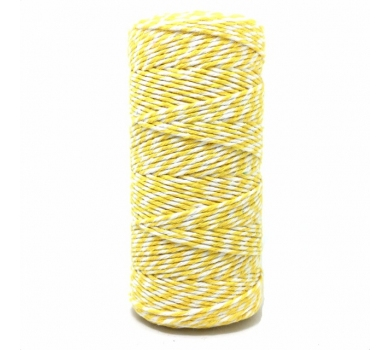 Двухцветный хлопковый шнур, Желто-белый, 2 мм, KA105811