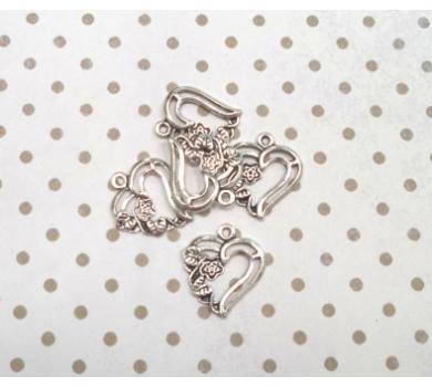 Подвеска металлическая Сердце , цвет серебро, 2,0*1,8 см, KA10120