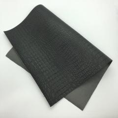 Кожзам (экокожа) на полиуретановой основе с тиснением под крокодила, цвет черный, арт. SC410060