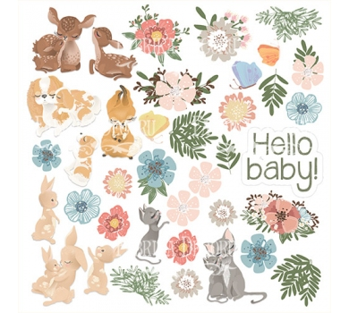 Лист с картинками для вырезания Baby&Mama, 30.5х30.5 см, 200г/м, 02052
