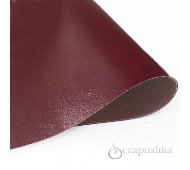 Кожзам (экокожа) на полиуретановой основе глянцевый темно-красный, арт. SC421205