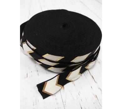 Резинка для блокнотов черный шеврон с золотом, шир. 1см, дл. 50см, 12062017