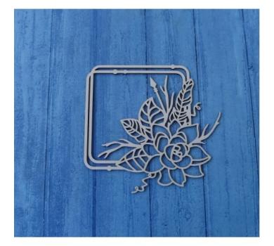 Чипборд Бохо квадратная рамка с цветком и веточками, 90х93 мм, 0563
