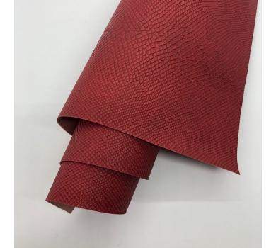 Кожзам (экокожа) на полиуретановой основе с тиснением под питона, цвет паприка, арт. SC420048