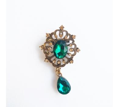 Брошь с кристаллом, цвет изумрудный, 7х3.7см, 11844