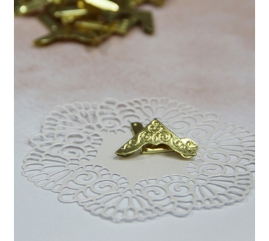 Металлические уголки с завитками, цвет Золото, 23*23 мм, 1 шт., AL04051716