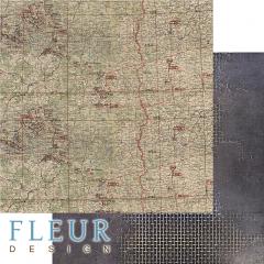 Лист двусторонней бумаги для скрапбукинга Карта, коллекция Храбрые сердца, FD1008705