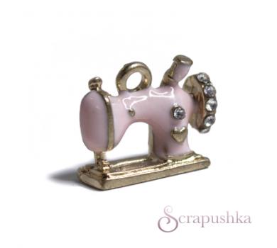 Подвеска металлическая Швейная машинка, цвет розовый с золотым, KA100140