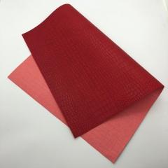 Кожзам (экокожа) на полиуретановой основе с тиснением под крокодила, цвет красный, арт. SC400059