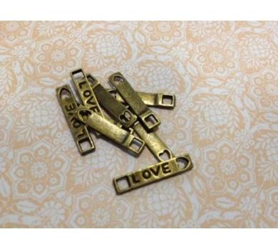 Подвеска металлическая Бирочка love, цвет бронза, 0,4x2 см, KA10055