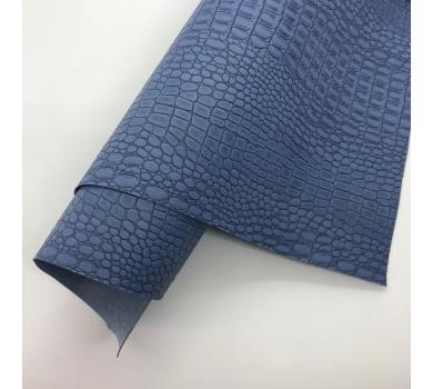 Кожзам (экокожа) на полиуретановой основе с тиснением под крокодила, цвет лондонский туман, арт. SC410063