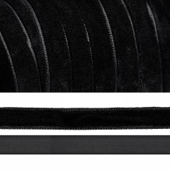 Лента бархатная, цвет черный, lb1003