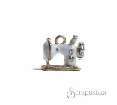 Подвеска металлическая Швейная машинка бело-золотая, KA100141