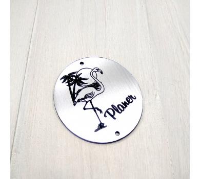 Зеркальная бирка с фламинго Planer, 60х53 мм, цвет серебро, арт. 142201