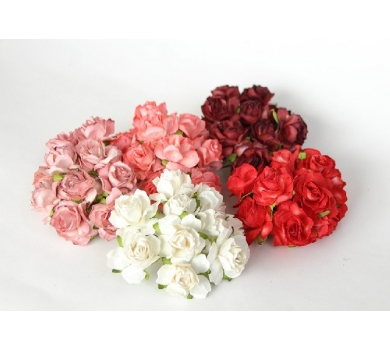 Кудрявые розы красный микс, 5 шт, размер цветка 3 см, r358