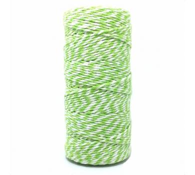 Двухцветный хлопковый шнур Салатово-белый, 2 мм, KA105819