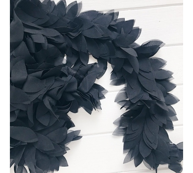 Шифоновые лепестки на ленте, цвет черный, 20 см, 160214