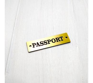 Зеркальная бирка Passport, 55х15 мм, цвет золото, арт. 123602