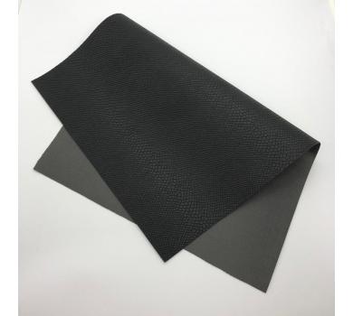 Кожзам (экокожа) на полиуретановой основе с тиснением под питона, цвет черный, арт. SC400057