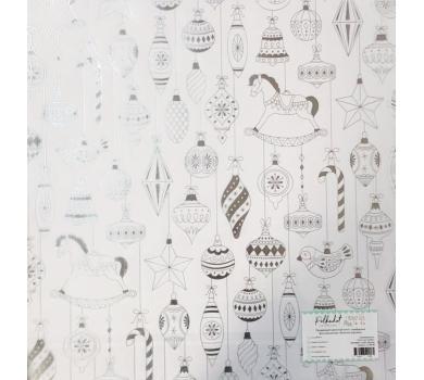 Прозрачный ацетатный лист с серебряным фольгированием Елочные игрушки, ac100-08