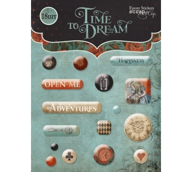Набор эпоксидных наклеек Time to Dream(eng.), 16 элементов, SM3000015