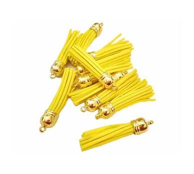 Декоративная кисточка из искусственной замши, желтая, KA106037