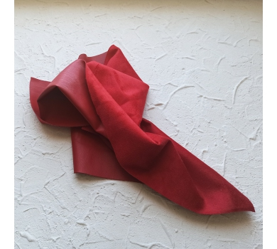 Искусственная замша на коже (кожзам), цвет красный, арт. 411634