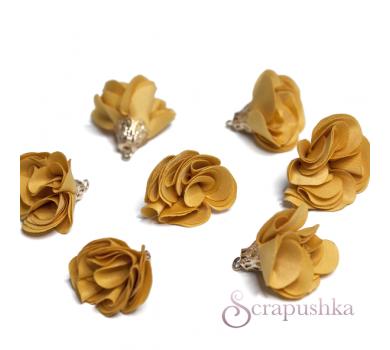 Декоративная кисточка бутончик тканевый, 1 шт, цвет оранжевый с золотом, KA105513