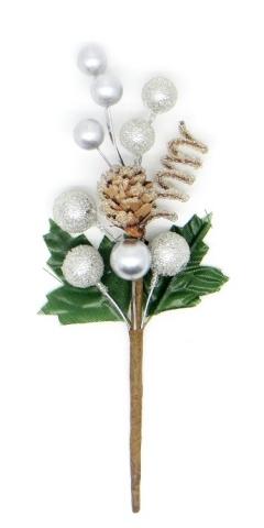 Декоративный букетик Зимний серебряный, DKB166B