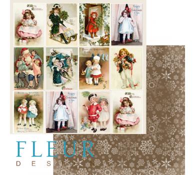 Двусторонний лист бумаги для скрапбукинга Карточки, коллекция Новогодняя ночь, FD10031112
