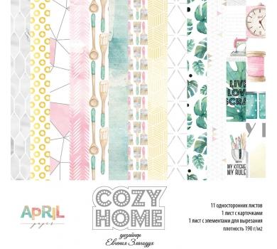 """Набор бумаги """"Cozy home"""", 15 на 15 см, плотность 190г/м, 13 односторонних листов, home-008-08"""