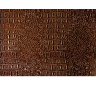 Кожзам (экокожа) на полиуретановой основе коричневый под крокодила, арт SC401020