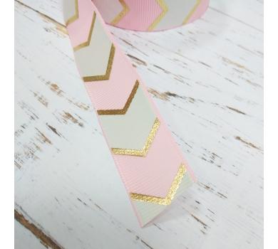 Лента репсовая розовый шеврон с золотом, 1м, 1107p