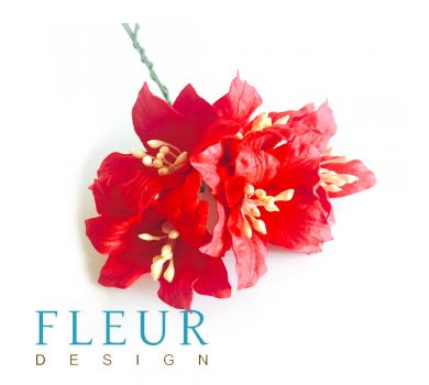 Цветы Лилии красные, размер цветка 3,75 см, 5 шт / упаковка FD3031012