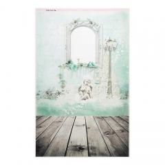Фотофон виниловый стена+пол Ангел и доски, 3563198