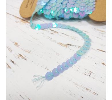 Лента из пайеток, цвет Перламутрово-голубой, 1м, seq19071