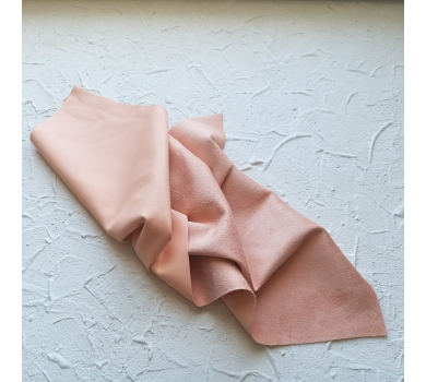 Искусственная замша на коже (кожзам), цвет персиковый, арт. 401633