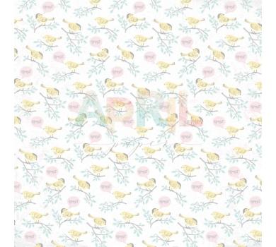 Лист односторонней бумаги для скрапбукинга Пение птиц, коллекция Детские мечты, арт. girl-012-01-9