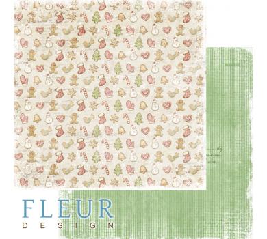 Двусторонний лист бумаги для скрапбукинга Печенье, коллекция Зима винтажная, FD1006002