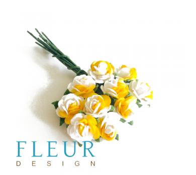 Мини-розочки Белые с желтым, размер цветка 1 см, 10 шт/упаковка FD3072402