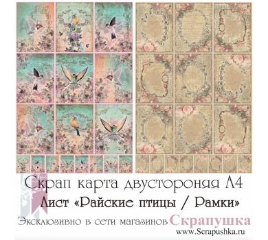 Скрап-карта двусторонняя Райские птицы/Рамки, арт. SK1008