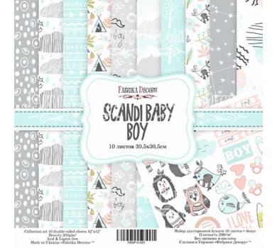 Набор двусторонней бумаги Scandi Baby Boy, 30х30 см, 200 г/м, FDSP-01051