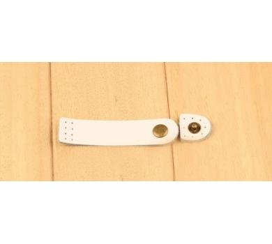 Кожаный хлястик (пришивной) на кнопке, цвет белый, 153414