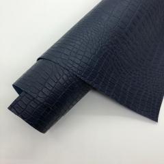 Кожзам (экокожа) на полиуретановой основе с тиснением под крокодила, цвет темно-синий, арт. SC410062